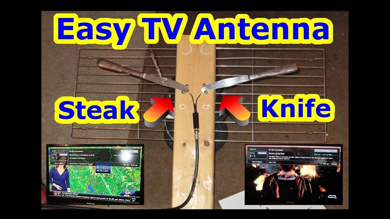 DIY UHF + VHF HDTV Antenna - STEAK KNIFE - EASY + CHEAP FREE HD TV OTA - NO  CABLE DIRECTV