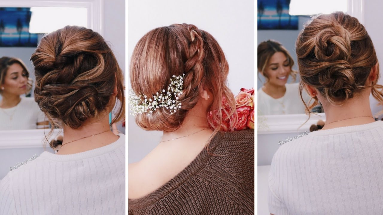 3 Easy Updos For Short Medium Length Hair Ashley Bloomfield Bloomingbride Series Youtube