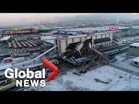 Drone footage shows aftermath of deadly train accident in Turkey
