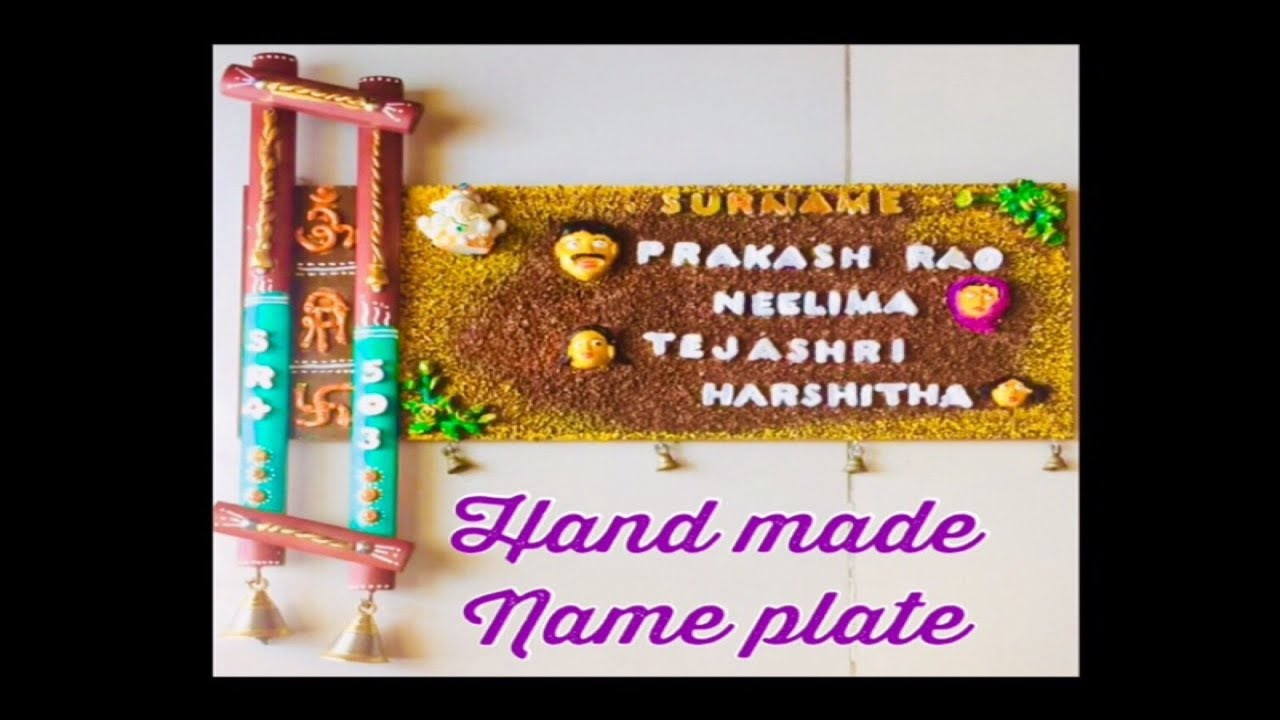 How To Make Ethnic Name Plate From Wood At Home Very Easy Craft Ideas