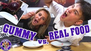 GUMMY VS. REAL FOOD CHALLENGE | ESSEN WIR WÜRMER? | FAMILY FUN