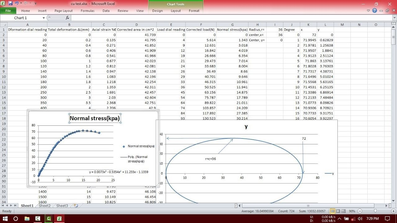 excel unconfined compression test calculation with mohr u0026 39 s