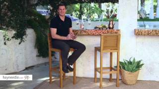 Coral Coast West Shore Acacia Wood Balcony Height Patio Bar Stool - Set of 2 - Product Review Video