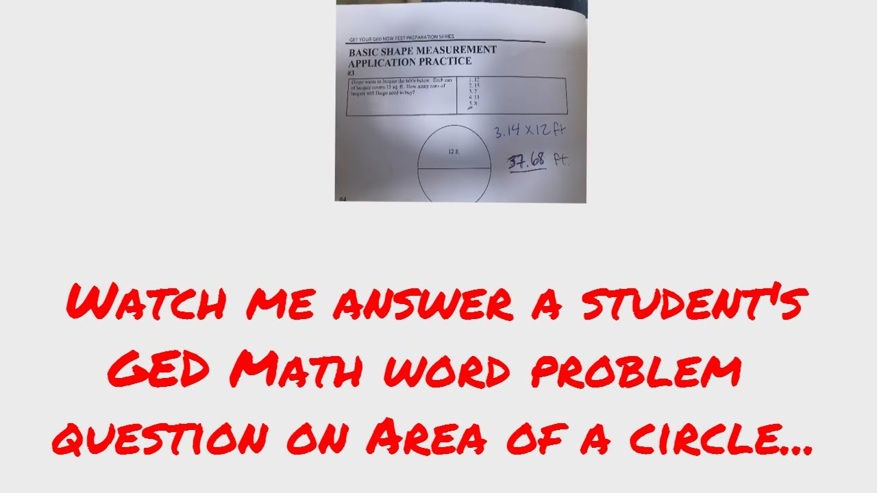 Online GED Course GED Math Test Question - Area of a Circle - YouTube
