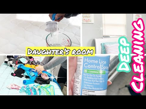 Deep Clean With Me My Daughter's Room || How To Wash Mattress ||How To Prevent Lice
