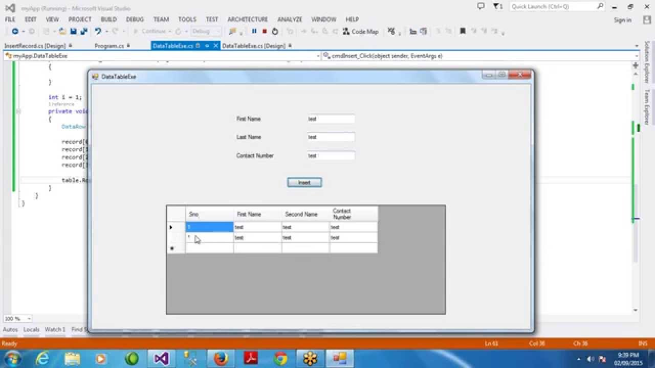 ADO NET Online Class Day 8 - Working with DataTable - DataRow