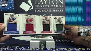 2018 Panini National Treasures Football Hobby 4 Box Case Break #1