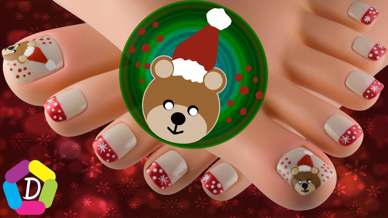 Christmas Bear Easy Toe Nail Design