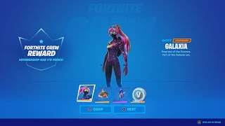 FORTNITE MONTHLY CREW PACK - Galaxia Skin Gameplay & Review (Buying Fortnite's Monthly Subscription)