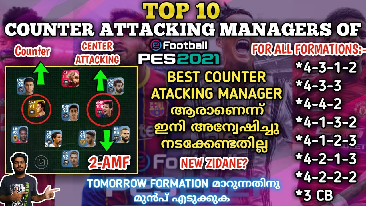 Top 10 Deadliest Counter Attacking Managers In PES 2021 For Both Online & Offline|All Type Formation