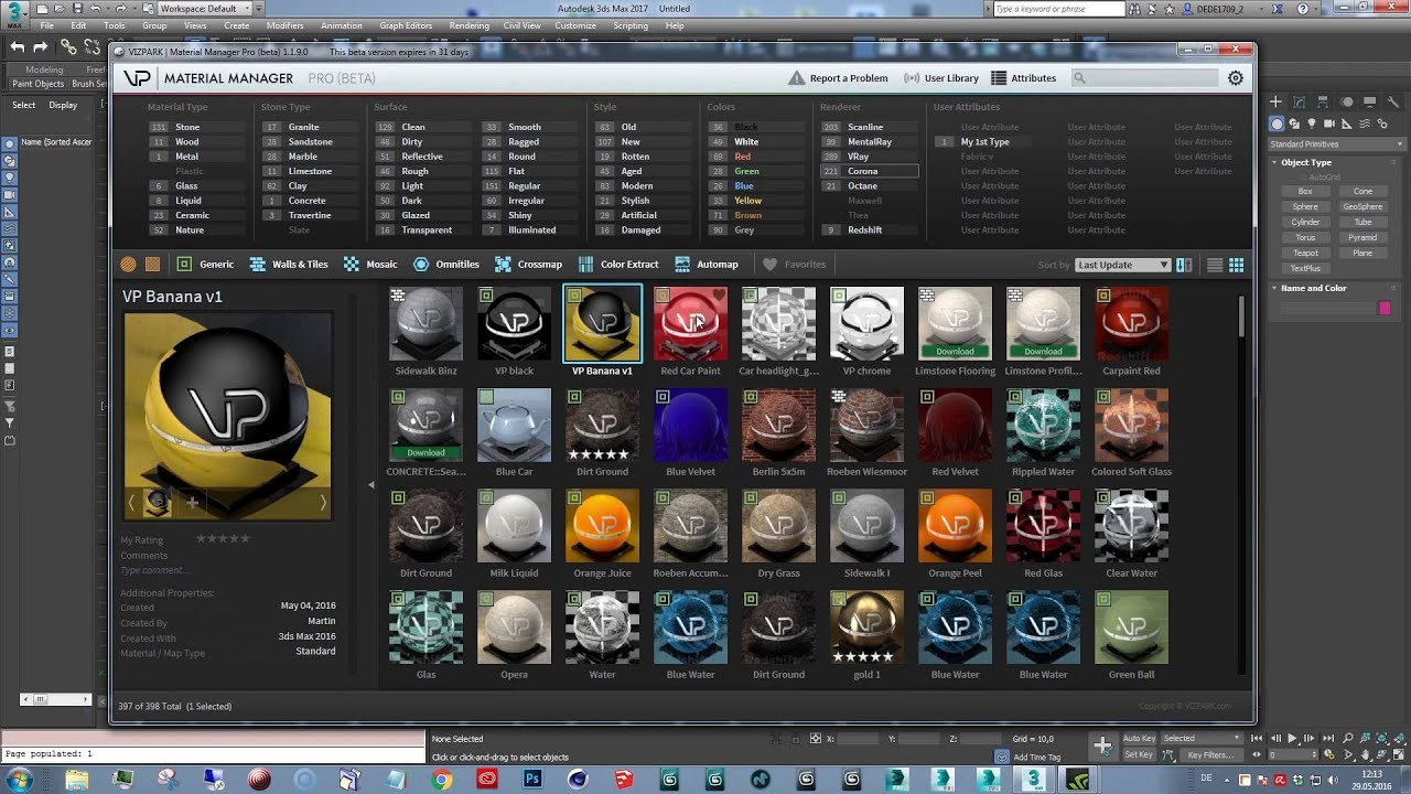 MATERIAL MANAGER is the perfect tool to manage your 3Ds Max material