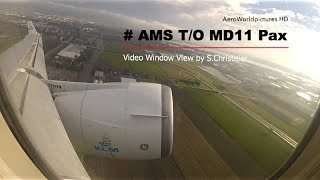 Take-off with MD11 at Amsterdam, Schiphol (AMS) NL (Window View)