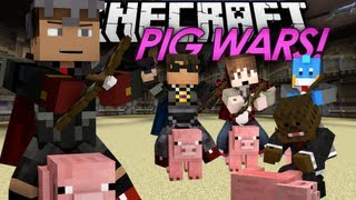 Minecraft Mini Game: PIG WARS! w/ SkyDoesMinecraft, Jerome, Mitch, & Quentin