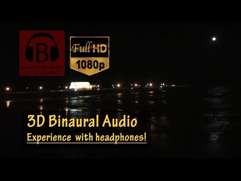 RELAXING [HD] Late Night Ocean Pier (Binaural 3D audio) -- Myrtle Beach, SC