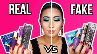 PROBANDO REAL VS FAKE MAKEUP.. MAQUILLAJE PIRATA | Carol Chang