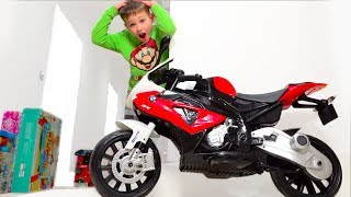 Kids collect motorbike and play with toys