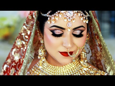 Long Lasting INDIAN BRIDAL Makeup Tutorial | TRADITIONAL GOLD & RED Daytime Look thumbnail