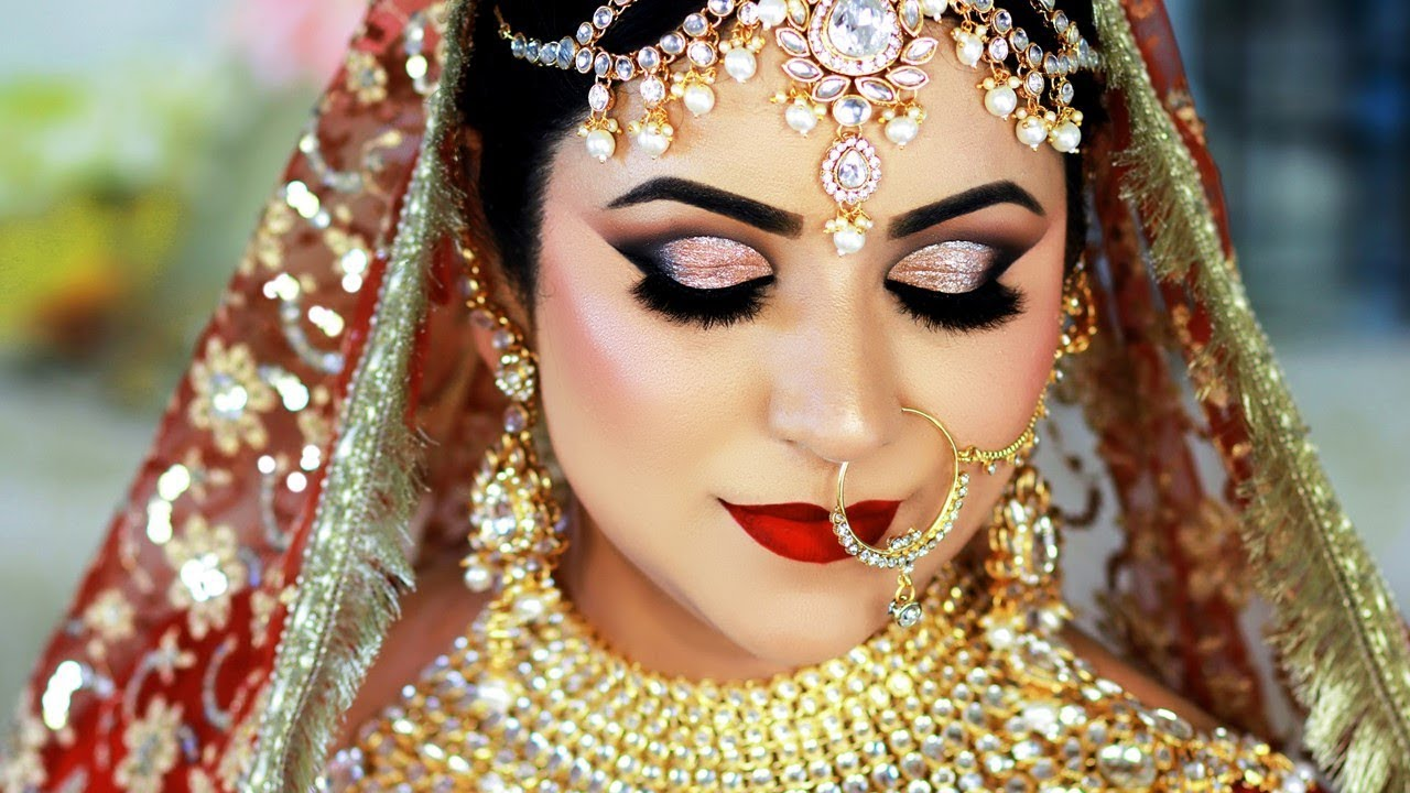 long lasting indian bridal makeup tutorial | traditional gold & red daytime look