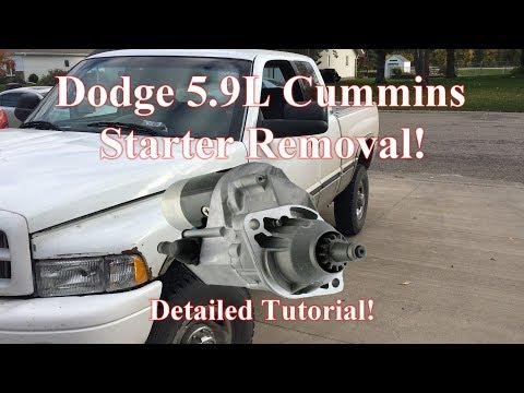 2001 DODGE CUMMINS STARTER REMOVAL AND CONTACT CHANGE - YouTube