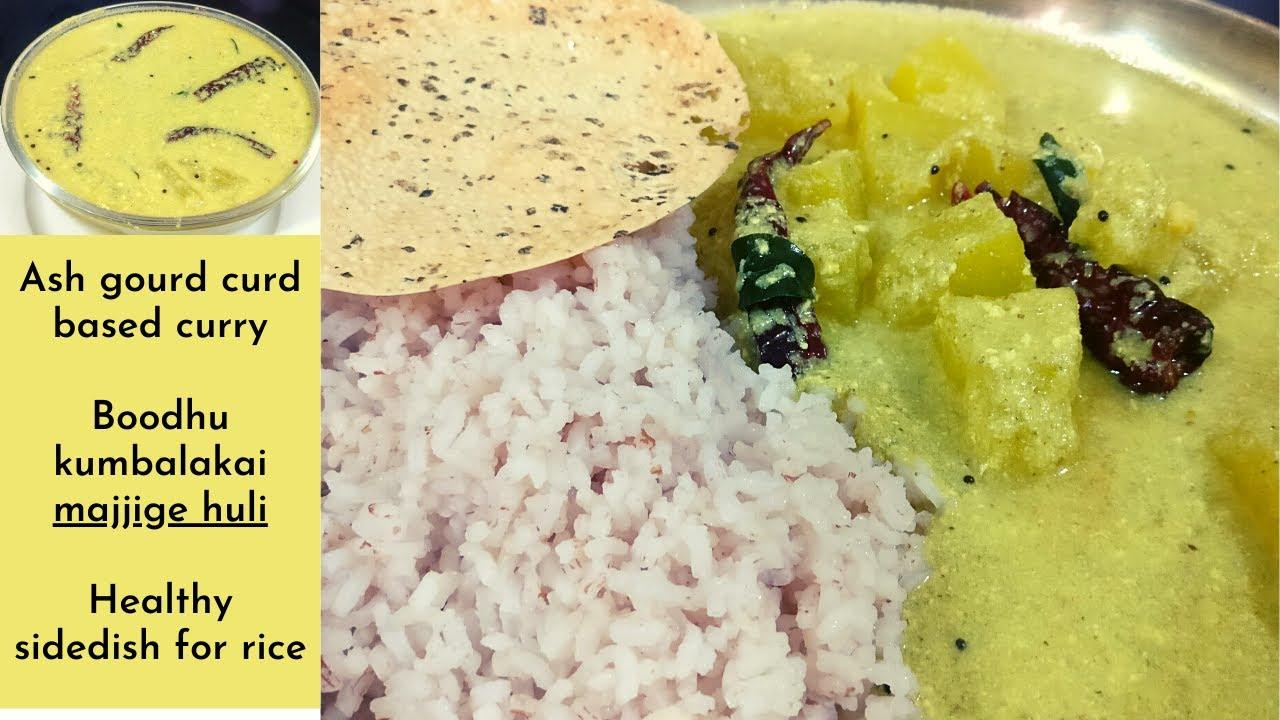 Ash gourd curd based curry - Boodhu kumbalakai majjige huli - South indian majjige huli