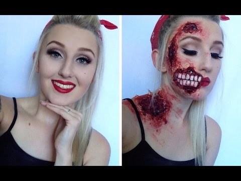 Pin Up Zombie Halloween Make Up Tutorial