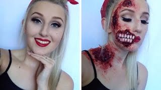 Pin Up Zombie Halloween Make Up Tutorial ♡
