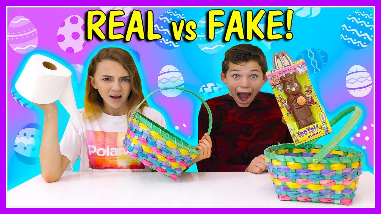 REAL VS FAKE EASTER BASKET SWITCH UP | We Are The Davises