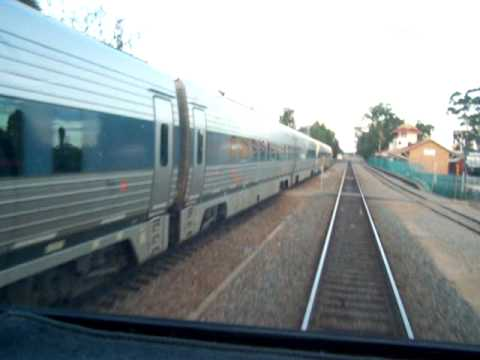 Perth to Kalgoorlie Prospector Railcar departing Merredin