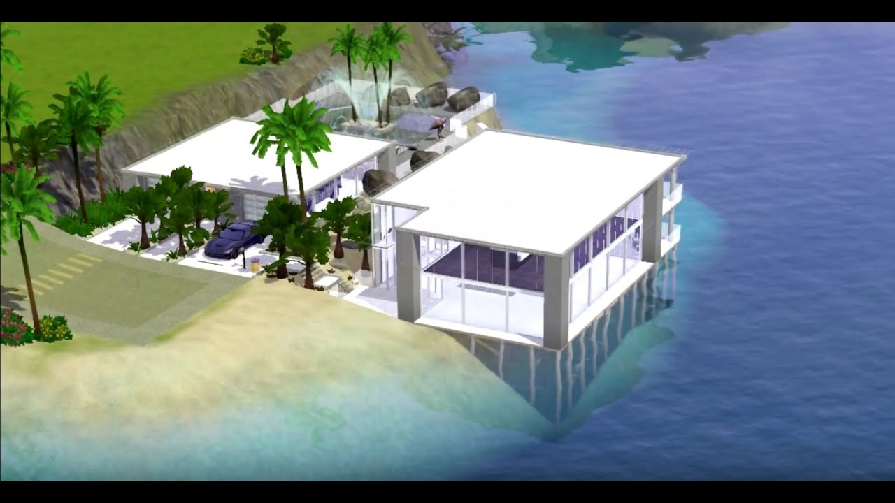 Sims 3 3 modern beach house download youtube for Beach house 3 free download