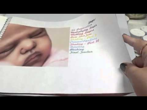 Tutorial: first step of hair painting for reborn baby dolls.
