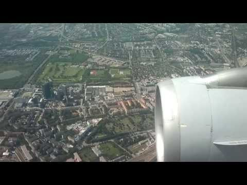 Landing in Vienna International Airport with view of the whole city Vienna (HD)
