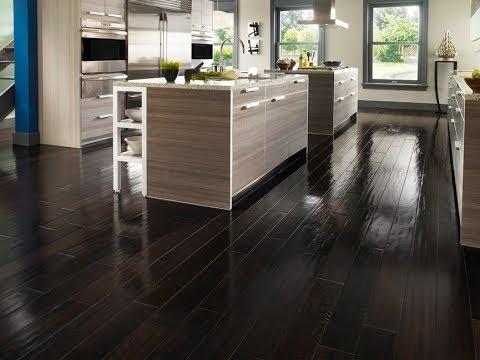 White Tile And Dark Hardwood Floors