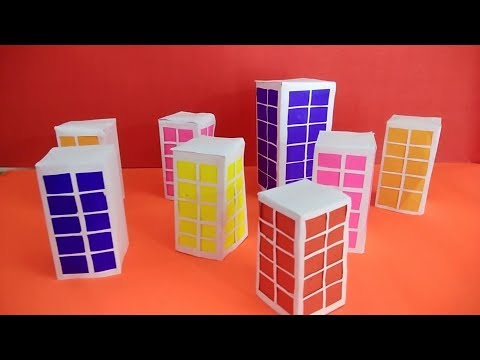 How to make Paper Building | Peper City || school project work DIY