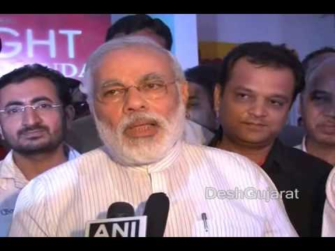 Narendra Modi talks to media after watching a movie on Swami Vivekananda