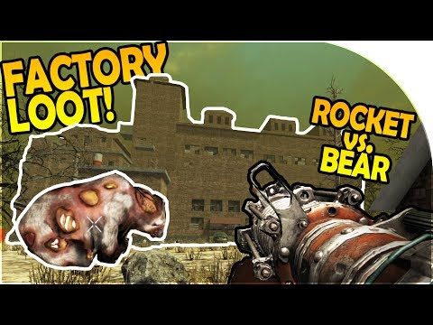 GIANT FACTORY LOOT - ROCKET vs BEAR - HUGE WEAPON UPGRADES - 7 Days to Die Alpha 16 Gameplay Part 25