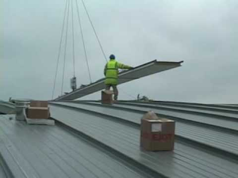 Clad Boy Lifting 87 Long Roof Panels Wmv Youtube