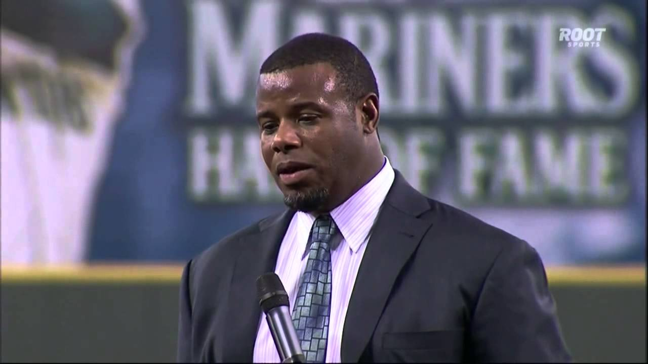 04a3846be3 Ken Griffey Jr. MARINERS HALL OF FAME SPEECH Jay Buhner flips him off,  gives him the middle finger - YouTube