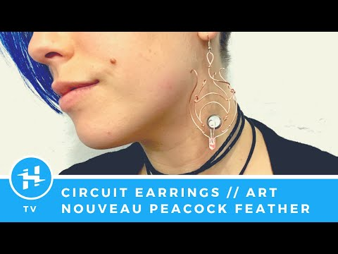 Circuit Jewelry: Art Nouveau Peacock Feather Earring (No soldering!)