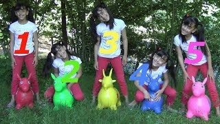 Learn Colors W/Toy Horses And Five Little Monkeys Jumping On The bad Good Songs For Kids