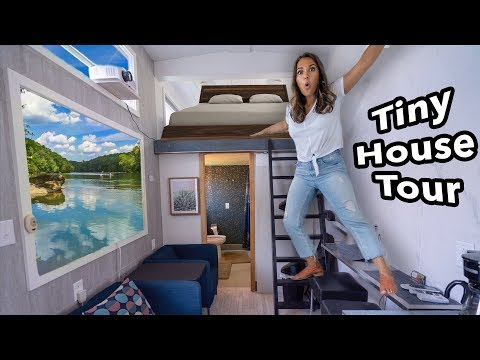 I lived in a TINY HOUSE for a day! Cute Tiny House Tour!