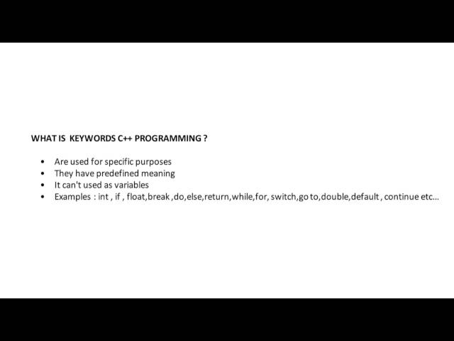 What is Key Words In C++ Programming - YouTube