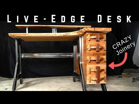 Live Edge Industrial Desk  with CRAZY WOODWORKING JOINERY!!!