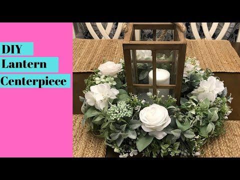 DIY Lantern Table Centerpiece - Artificial Floral Arrangement