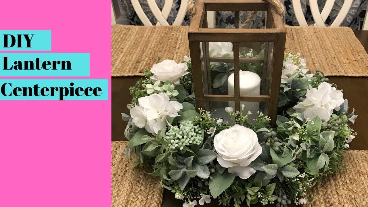 Diy Lantern Table Centerpiece Artificial Floral Arrangement