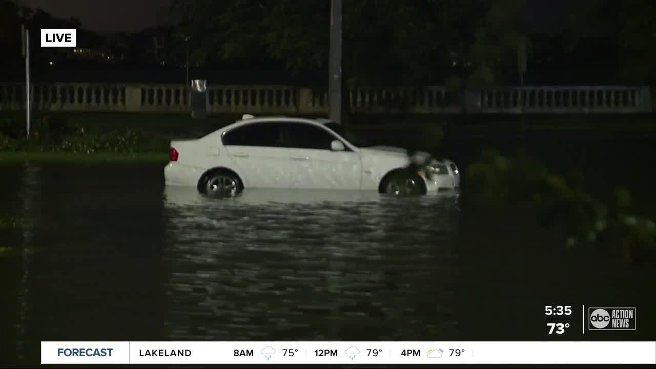 Firefighters rescue drivers stuck on Bayshore due to flooding