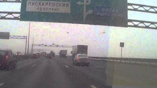 Едем от Софийской улице до МЕГА-ПАРНАС по КАД СПб, запись с видеорегистратора, ранняя весна, слякоть(, 2015-02-27T08:34:30.000Z)