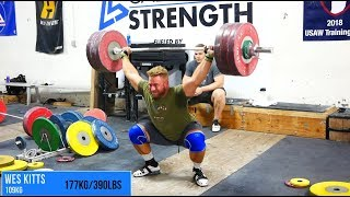 Wes Kitts Snatches 177kg (390lbs)