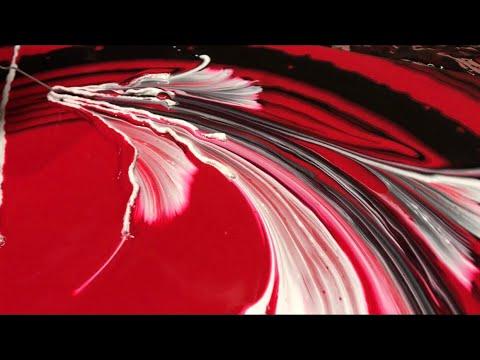 Fluid Painting Acrylic STRING SWIPE? Wigglz Art Amazing Results Please Share! Recipe in description.