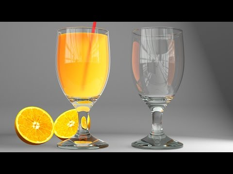 3ds max - vray realistic glass and juce, modeling, lighting and rendering