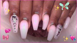 🥛 m i l k y w h i t e 2 Acrylic Nails Tut 🥛